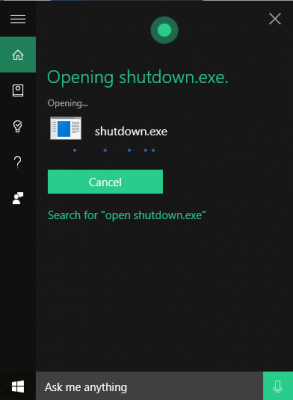 Step by step to ShutDown Windows 10 with a Cortana Voice Command