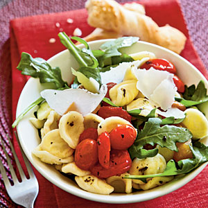 Vegetarian Recipe: Orecchiette with Roasted Peppers, Arugula, Tomatoes
