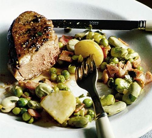 Summer Food recipe: Duck with summer peas beans