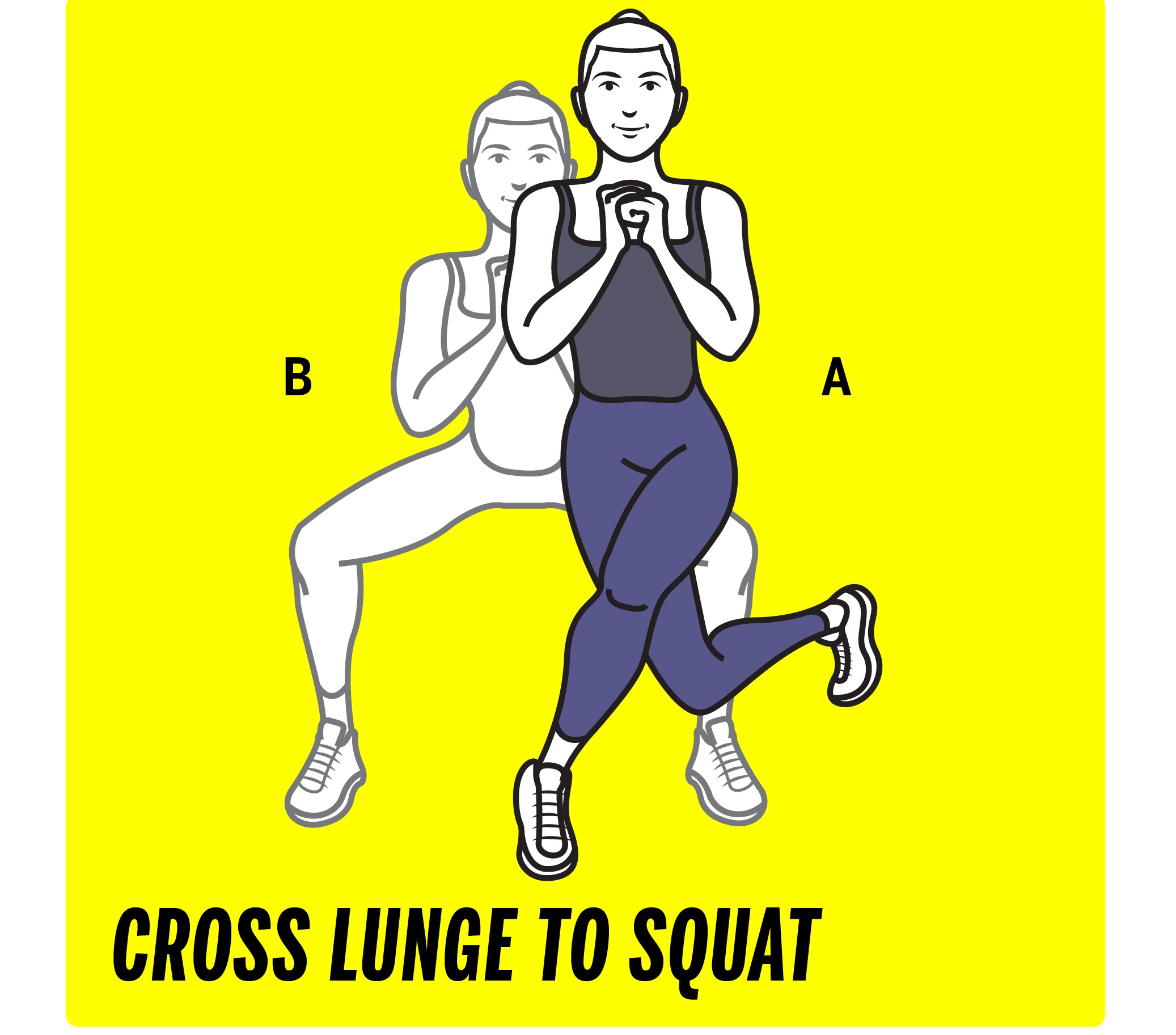 Cross lunge to squat