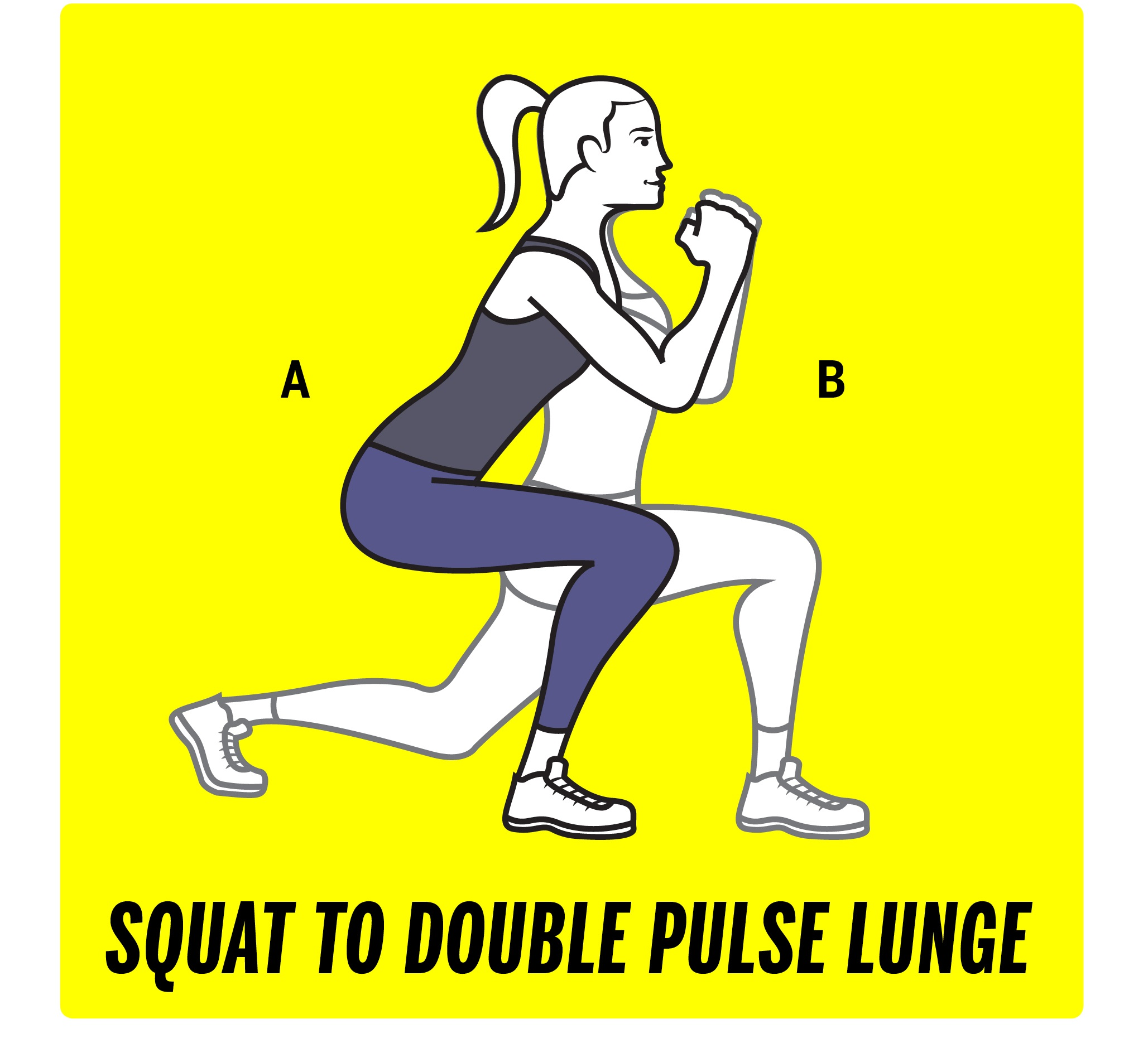 Squat to double pulse lunge