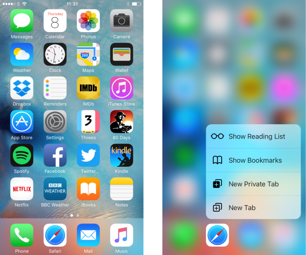 iOS 9 3D Touch screenshot