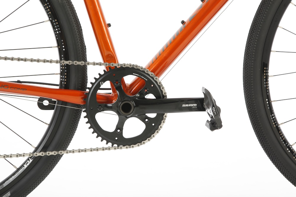 Raleigh Mustang Comp Review - Single ring is designed to help stop the chain slipping off